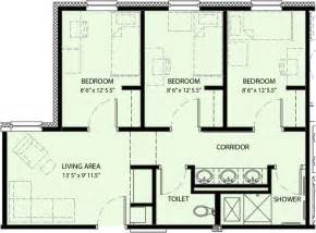 Three Bedroom Floor Plan by Pricing And Floor Plan University Commons University