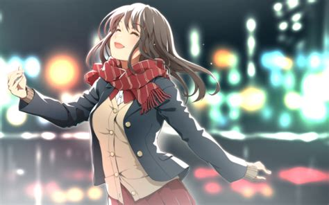 wallpaper anime girl happy tears scarf bokeh lights