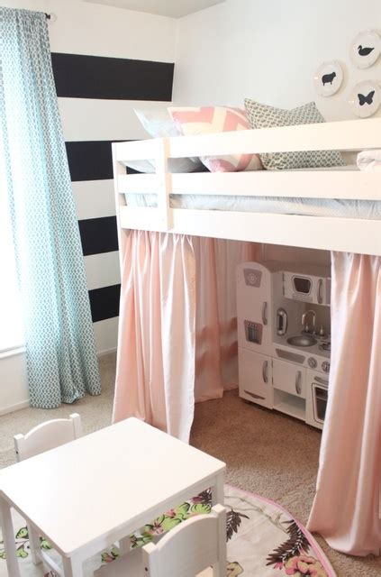 bunk bed with play area underneath play kitchen under loft bed for the girls pinterest