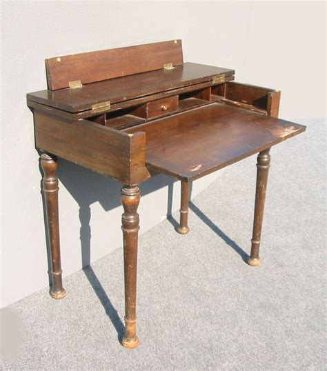 Rustic Antique Folding Top Writing Desk W Pull Out Table Folding Writing Desk
