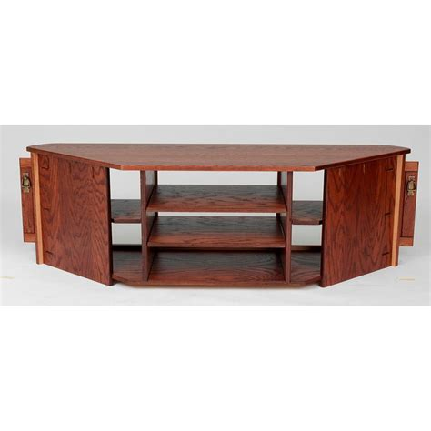 mission style solid oak corner tv stand w cabinet 64