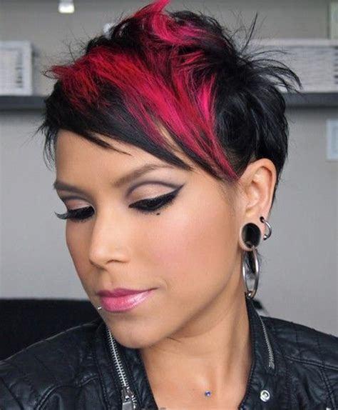 cute short haircuts with color for women in their fifties cute short hair with red block color full dose