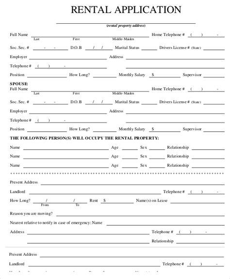 printable sample rental application form pdf form real estate