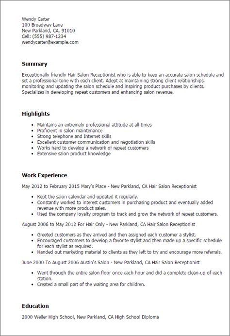 cover letter receptionist hair salon hair salon receptionist resume template best design