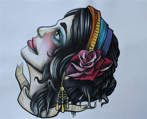 tattoo flash gypsy head tattoo flash gypsy head by lickingstitches on deviantart