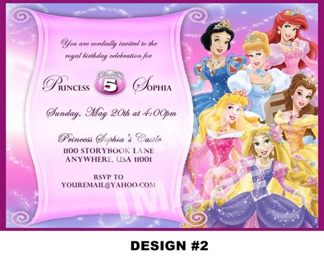 5th Birthday Invitation Card Template by Disney Princess For Birthday Invitations Ideas