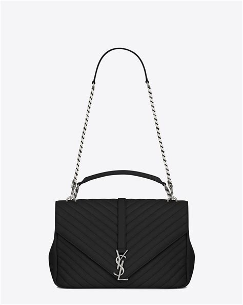 saint laurent classic large college bag  black matelasse