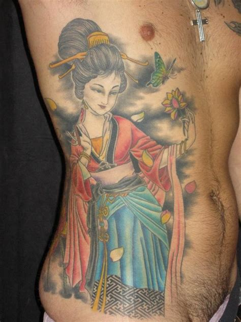 tattoo geisha blue great colored geisha with flower tattoo on ribs