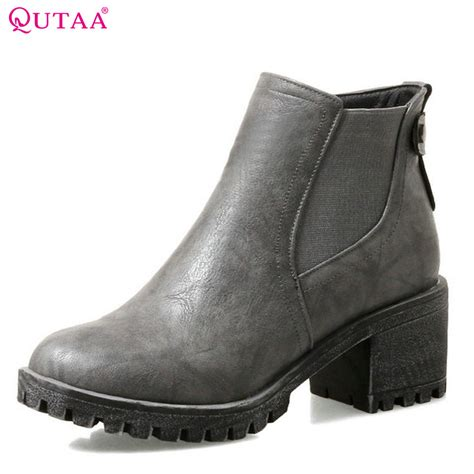Boots Zipper 2018 qutaa 2018 new ankle boots fashion zipper toe pu leather westrn style all match