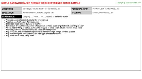 sandwich maker resume sandwich maker resumes sles descriptions and duties