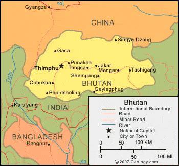 map of bhutan in world map bhutan map and satellite image
