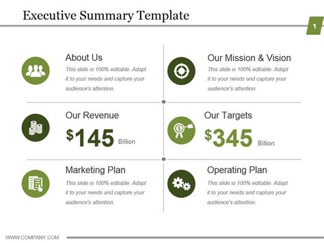 Executive Summary Template Powerpoint Show Powerpoint Slide Images Ppt Design Templates Executive Summary Slide Template