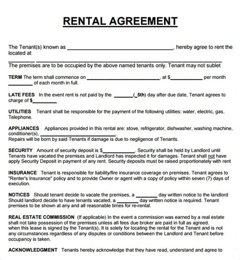 weekly rental agreement template 28 images 14