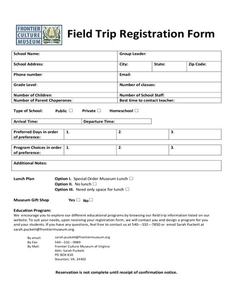 Field Trip Registration Form Virginia Free Download Field Trip Form Template