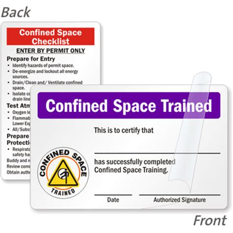 confined space card template self laminating certification wallet card signs sku bd