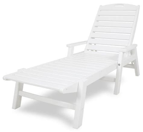 white resin stackable chaise lounge chair polywood ncc2280wh nautical chaise with arms stackable