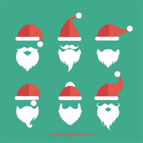 santa silhouettes santa claus beards collection vector free
