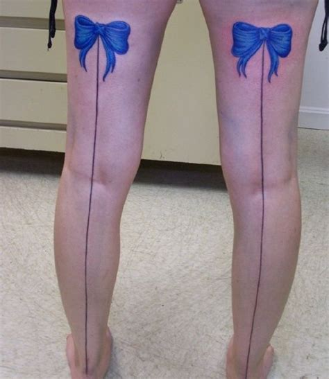 bow tie tattoos on legs unique bow tattoo design blue