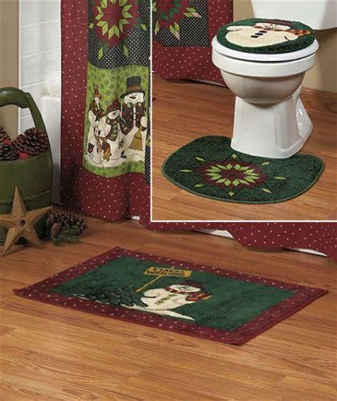 christmas bathroom set new 3 pc holiday christmas snowman bathroom rug set