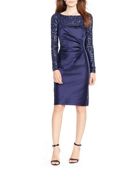 Lawren Dress by ralph lace accented sheath dress in blue