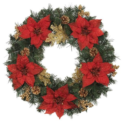 24 in silk poinsettia artificial wreath with gold fern