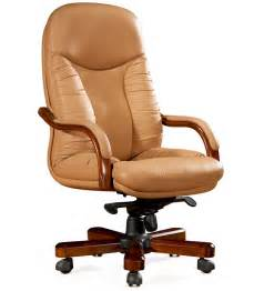 Office Chair Wooden Base Office Chair In Beige Black Genuine Leather Finish By