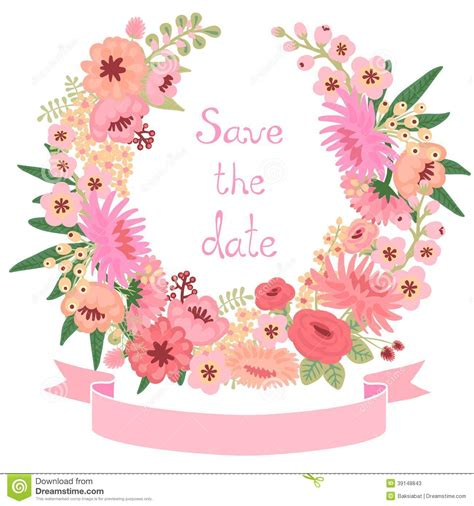 vintage flowers wedding invitations vector vintage card with floral wreath save the date stock