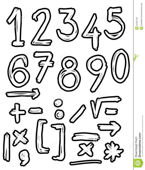 doodle numbers numbers doodles royalty free stock image