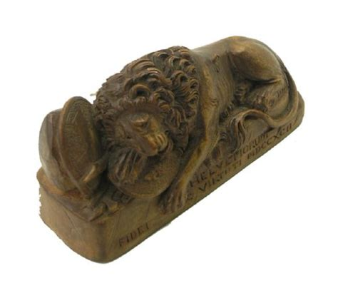 swiss limewood carving   lion  lucerne
