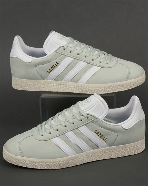 Adidas Originals Adidas Leather Green P 729 by Adidas Gazelle Letaher Trainers Linen Green White