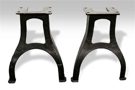 industrial cast iron table legs pair of curved industrial machine cast iron table legs