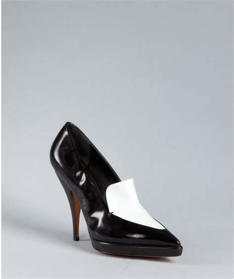 white platform loafers black and white leather platform loafers in black