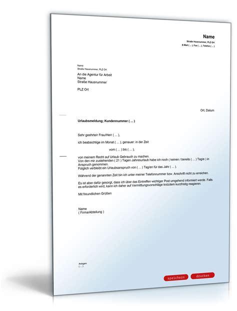 Word Vorlage Urlaub Urlaubsantrag Urlaubsmeldung Bei Der Agentur F 252 R Arbeit