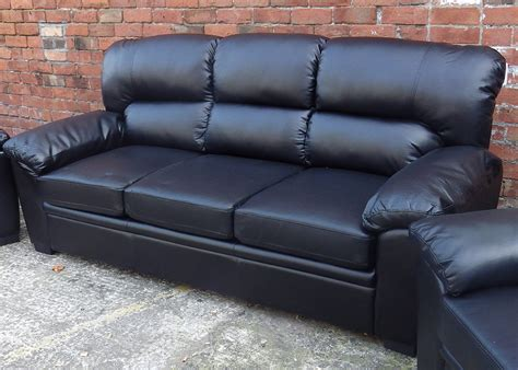 Black Leather 3 Seater Sofa Leather 3 Seater Sofa Black