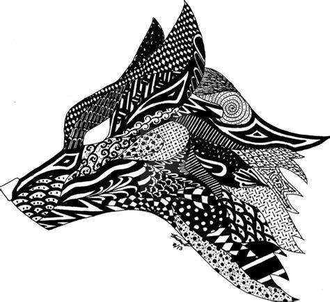 pattern drawing wolf zentangle fox by fallowsingerwolf on deviantart