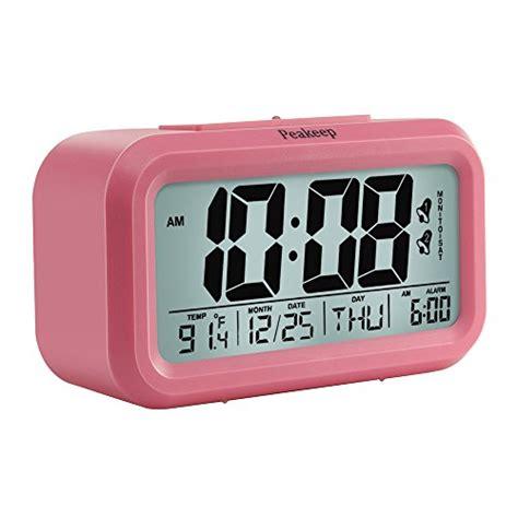 peakeep digital alarm clock with 2 alarms for weekdays