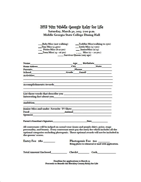 Miss Middle Georgia Relay For Life Pageant Set For March 30 Community Spirit Bleckley Dodge Pageant Registration Form Template