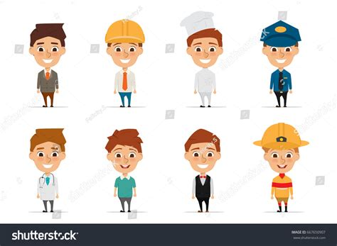 layout man jobs collection people character occupation cartoon