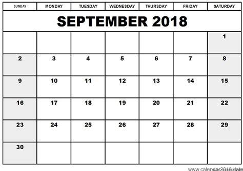 printable calendar september 2018 printable september 2018 calendar template business