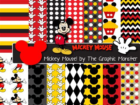 mickey mouse digital mickey mouse scrapbook paper digital paper mickey mouse