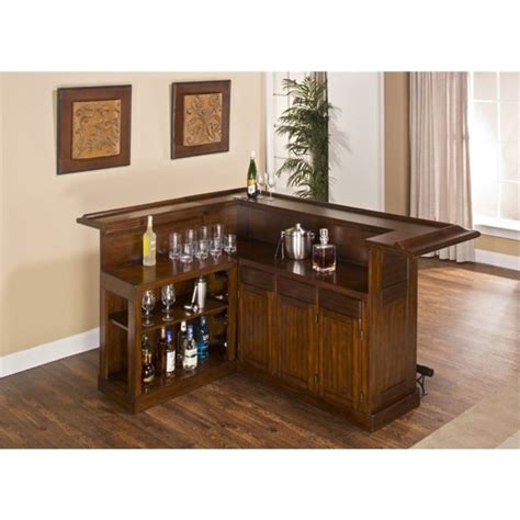 L Shaped Home Bar Furniture Bowery Hill L Shaped Home Bar In Brown Cherry Bh 1425823