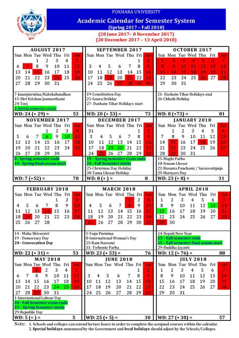 Nepal Calend 2018 Pokhara New Academic Calendar For Ongoing