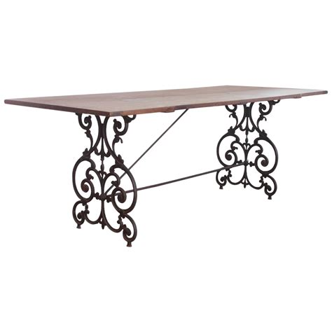 Wrought Iron Dining Tables American Wrought Iron And Wood Base Dining Table Circa
