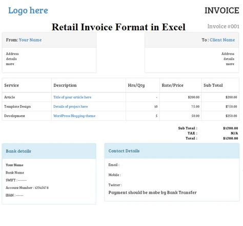 retail invoice format  excel sheet