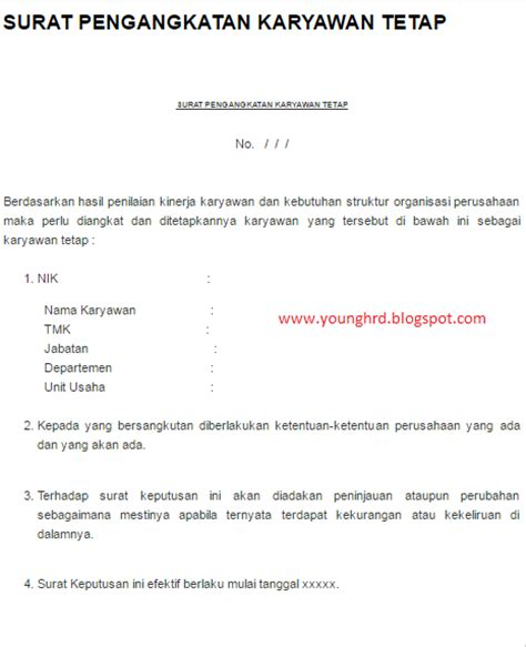 surat pengangkatan karyawan tetap hrd indonesia