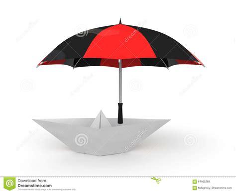 3d paper boat 3d paper boat under umbrella stock illustration image