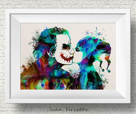 Batman Wall Mural joker et harley quinn kiss amour aquarelle peinture impression