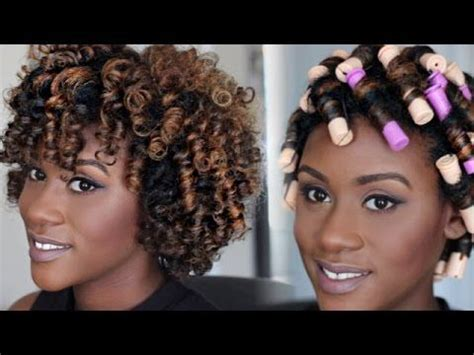 jheri curl without perm natural hair tutorial perm rod set video pinterest