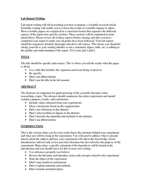 Report Essay Format by Write Lab Report Conclusion