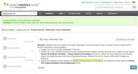 Um Search Datenintegration In Searchmetrics Analytics Search Console